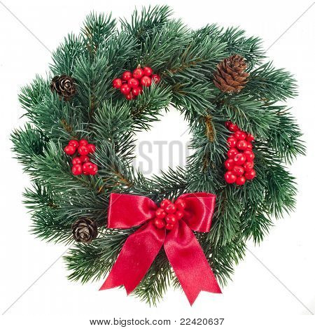 Christmas decoration with red berries  isolated on white background