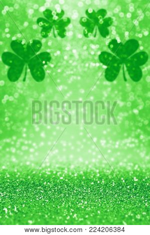 Abstract green glitter sparkle confetti background for party invite, St Patrick's Day luck, lucky Saint Paddys Irish texture, happy Pattys, Celtic shamrock pattern, Spring sale or celebration poster