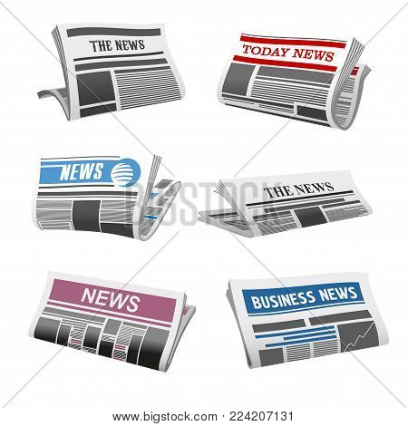 Newspaper isolated icons of folded news magazine. Vector daily news press title and text printed on pages with sign of publishing house for newspaper or information journal design template