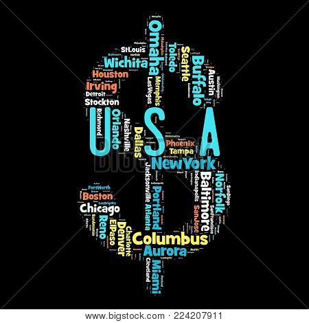 Words cloud of USA's cities as background