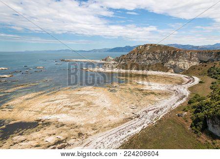 eroded cliffs at Kaikoura Peninsula coastline, New Zealand