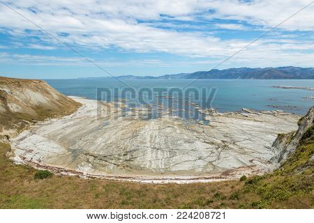 aerial view of coastline near Kaikoura, New Zealand, at low tide