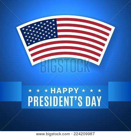 Happy President's Day greeting card with US flag icon