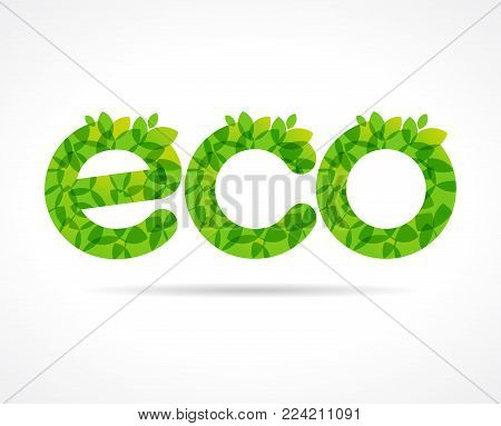 ECO green leaf logo. Eco food, organic bio products label. Vector green leaves lettering design template for ecology business