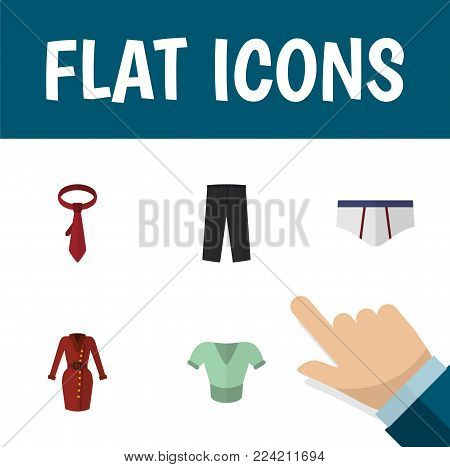 Icon flat dress set of trousers, underwear, tie and other vector objects. Also includes clothes, briefs, shirt elements.