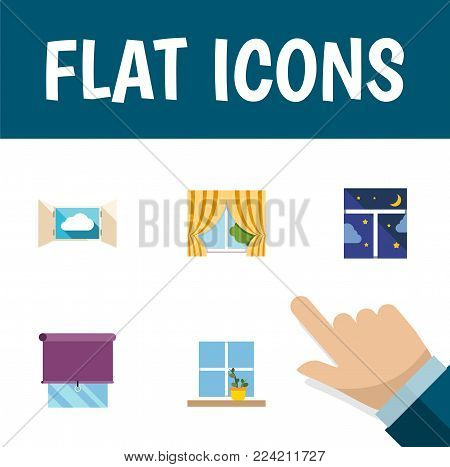 Icon flat glass set of window, balcony, night sky and other vector objects. Also includes window, curtain, frame elements.
