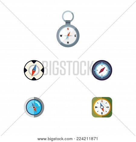 Icon flat orientation set of magnet navigator, instrument, direction and other vector objects. Also includes navigator, compass, geography elements.