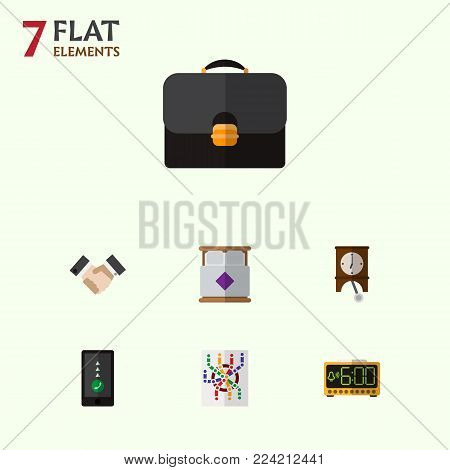 Icon flat lifestyle set of double bed, suitcase, pendulum and other vector objects. Also includes pendulum, smartphone, handbag elements.