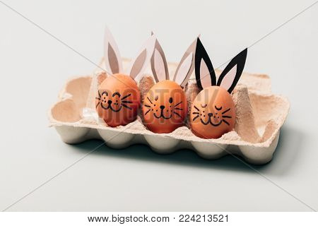 Three egg-bunnies standing in an egg carton. Easter egg. Traditional Christian holiday.