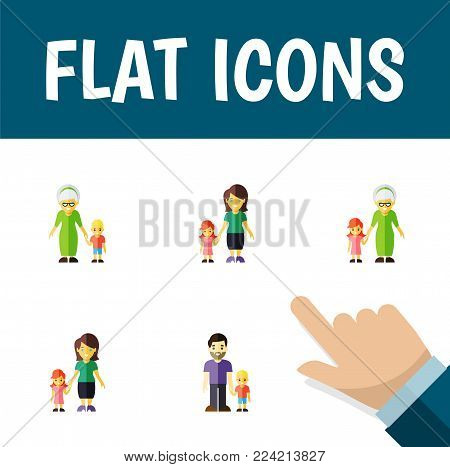 Icon flat relatives set of grandma, son, mother  objects. Also includes son, grandson, family elements.