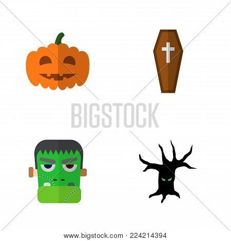Icon flat celebrate set of tree monster, zombie, coffin and other  objects. Also includes monster, terrible, gourd elements.