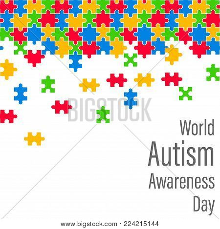 Colorful Jigsaw Drop World Autism Awareness Day Vector Illustration
