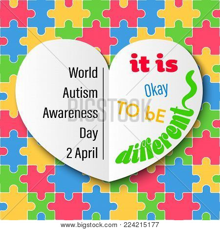 White Heart on Colorful Jigsaw Autism Day Vector Illustration