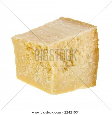 Parmesan cheese closeup on white background