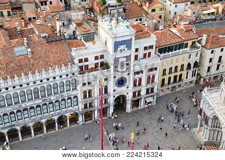 VENICE,ITALY - JULY 27,2017 : Aerial view of St Mark's Square with the Clock Tower in Venice