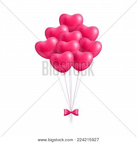 Bundle balloons form hearts bow isolated. A bundle of balloons in the form of hearts with a bow isolated for designers and illustrators. Bunch of balls in the form of a vector illustration