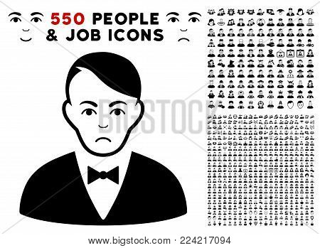 Pitiful Dealer pictograph with 550 bonus pitiful and glad people pictographs. Vector illustration style is flat black iconic symbols.