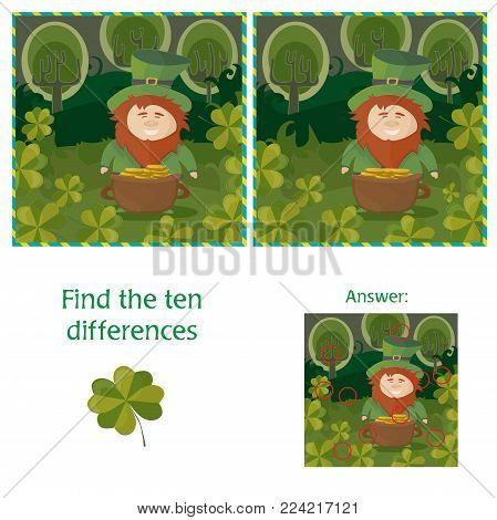 St. Patricks Day - find ten differences visual puzzle with Answer