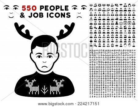 Pitiful Deers Pullover Horned Husband icon with 550 bonus sad and happy jobs pictures. Vector illustration style is flat black iconic symbols.