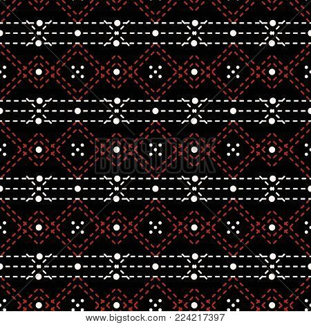 Seamless geometric pattern of dots and dashed lines in black, white, red colors