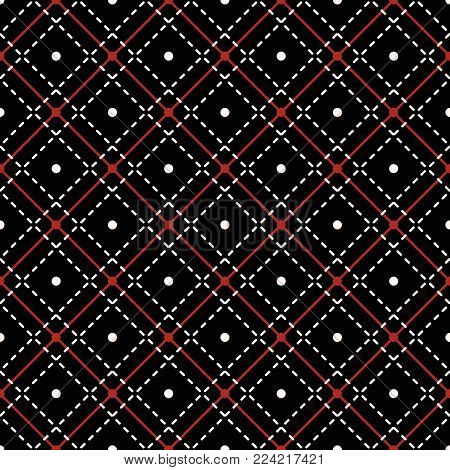 Seamless geometric pattern with dots and intersecting stitching lines, black, white, red colors