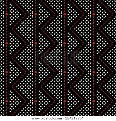 Seamless geometric pattern of vertical straight and zigzag dashed lines with dots in black, white, red colors