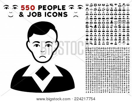 Pitiful Man icon with 550 bonus pitiful and glad men symbols. Vector illustration style is flat black iconic symbols.