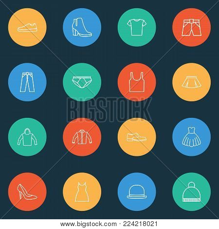 Clothes icons line style set with gumshoes, dress, boots and other dress elements. Isolated vector illustration clothes icons.