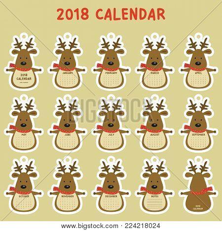 cute reindeer 2018 mini calendar. printable 2018 calendar, cartoon vector. animal shaped 2018 calendar template