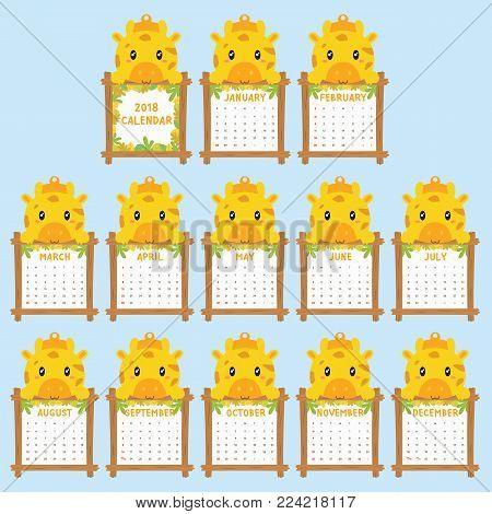 2018 calendar template. 2018 animal shaped calendar, cute baby giraffe holding calendar. printable 2018 calendar cartoon vector.