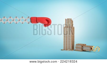 3d rendering of a large red boxing glove on a scissor arm near a small broken business building on a blue background. Business risks. Fall of enterprise. Company gone bust.