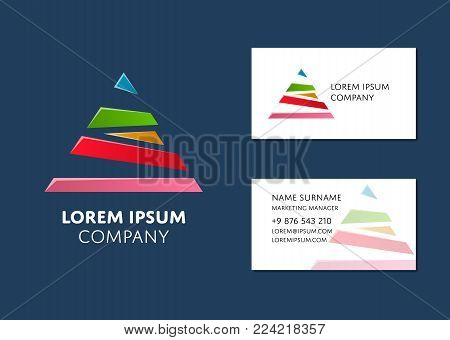 Creative business card template with colorful pyramid logo. Name, work position, phone, website and email contact information. Professional corporate design, brand identity vector illustration.