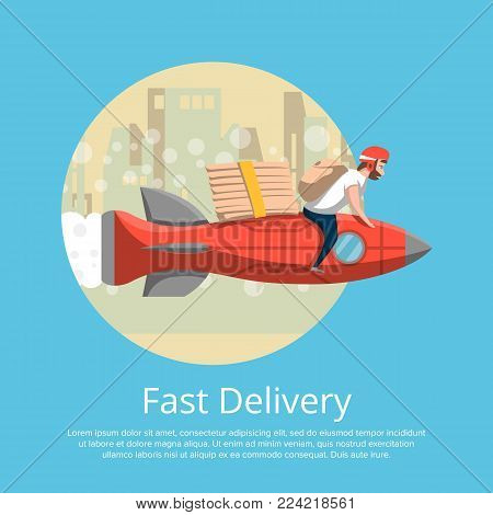 Fast food delivery poster with courier man ride rocket on cityscape background. Ordering take away food and delivery to customer door vector illustration. Restaurant advertising for food service.