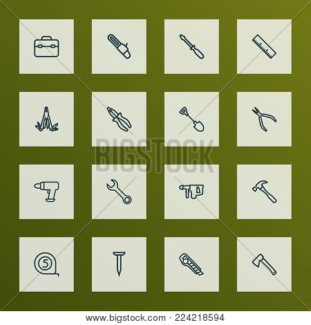 Tools icons line style set with multifunctional pocket, turn-screw, clamp and other ruler elements. Isolated vector illustration tools icons.
