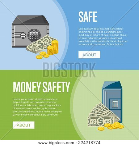 Safe box with paper banknotes and golden coins near. Money storage, banking and financial income, cash security posters. Bank deposit box with electronic combination lock vector illustration.