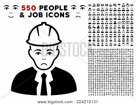 Pitiful Engineer icon with 550 bonus pitiful and happy jobs clip art. Vector illustration style is flat black iconic symbols.
