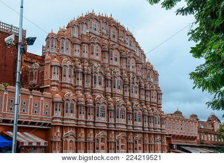 Jaipur, India - Jul 27, 2015. Facade Of Hawa Mahal (wind Palace) In Jaipur, India. The Palace Was Bu