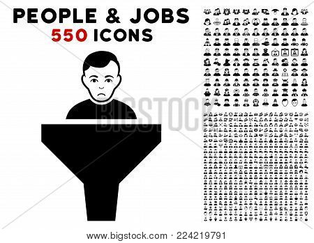 Pitiful Sales Funnel Client icon with 550 bonus pitiful and glad people pictures. Vector illustration style is flat black iconic symbols.