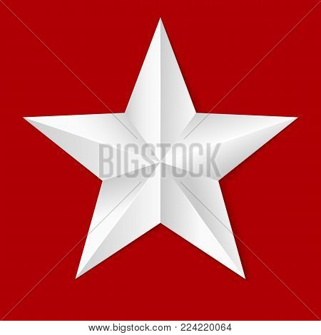 Volumetric five-pointed star. Icon of classic white star isolated on red background, 3D illustration close-up.