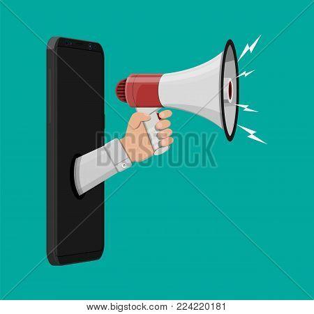 Loudspeaker or megaphone in hand inside smartphone. Announcement element. Social online marketing. Vector illustration in flat style
