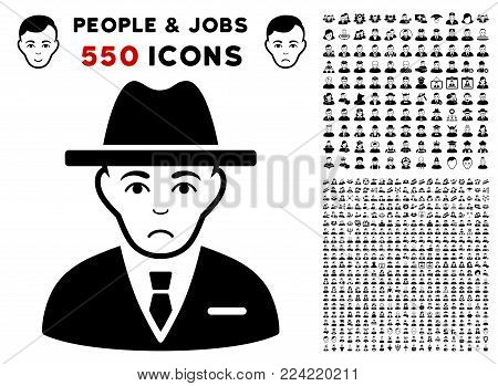 Pitiful Agent pictograph with 550 bonus pitiful and happy men images. Vector illustration style is flat black iconic symbols.