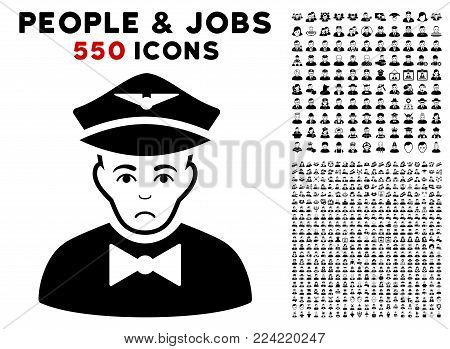 Sadly Airline Steward icon with 550 bonus pitiful and glad jobs pictographs. Vector illustration style is flat black iconic symbols.