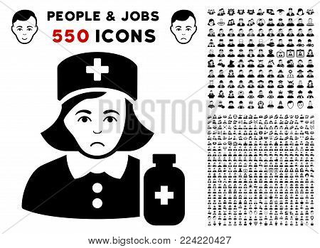 Pitiful Apothecary Lady pictograph with 550 bonus pity and happy user images. Vector illustration style is flat black iconic symbols.