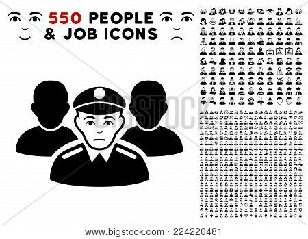Sadly Army Team pictograph with 550 bonus pitiful and glad person pictographs. Vector illustration style is flat black iconic symbols.