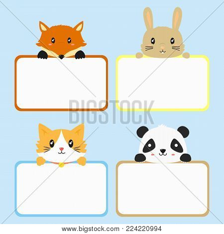 cute animals holding empty banner. cute fox, rabbit, cat, and panda. animal banner template cartoon vector. printable animal banner.