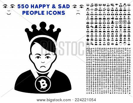 Dolor Bitcoin Lord pictograph with 550 bonus sad and happy jobs pictograms. Vector illustration style is flat black iconic symbols.