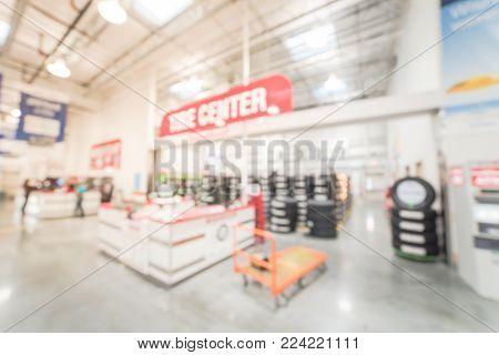Blurred Tire Center In Big Box Warehouse Store In America