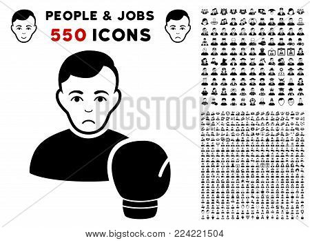 Pitiful Boxing Sportsman pictograph with 550 bonus pitiful and happy jobs images. Vector illustration style is flat black iconic symbols.