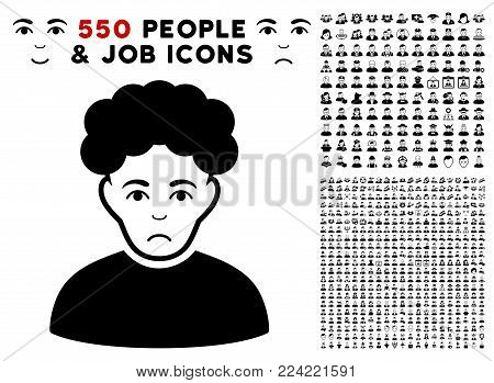 Unhappy Brunet Man pictograph with 550 bonus sad and happy person symbols. Vector illustration style is flat black iconic symbols.