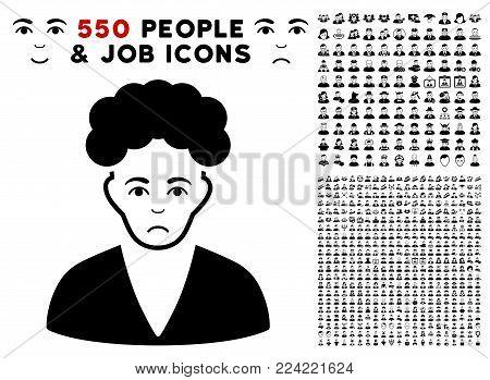 Dolor Brunette Boy icon with 550 bonus pity and glad person symbols. Vector illustration style is flat black iconic symbols.